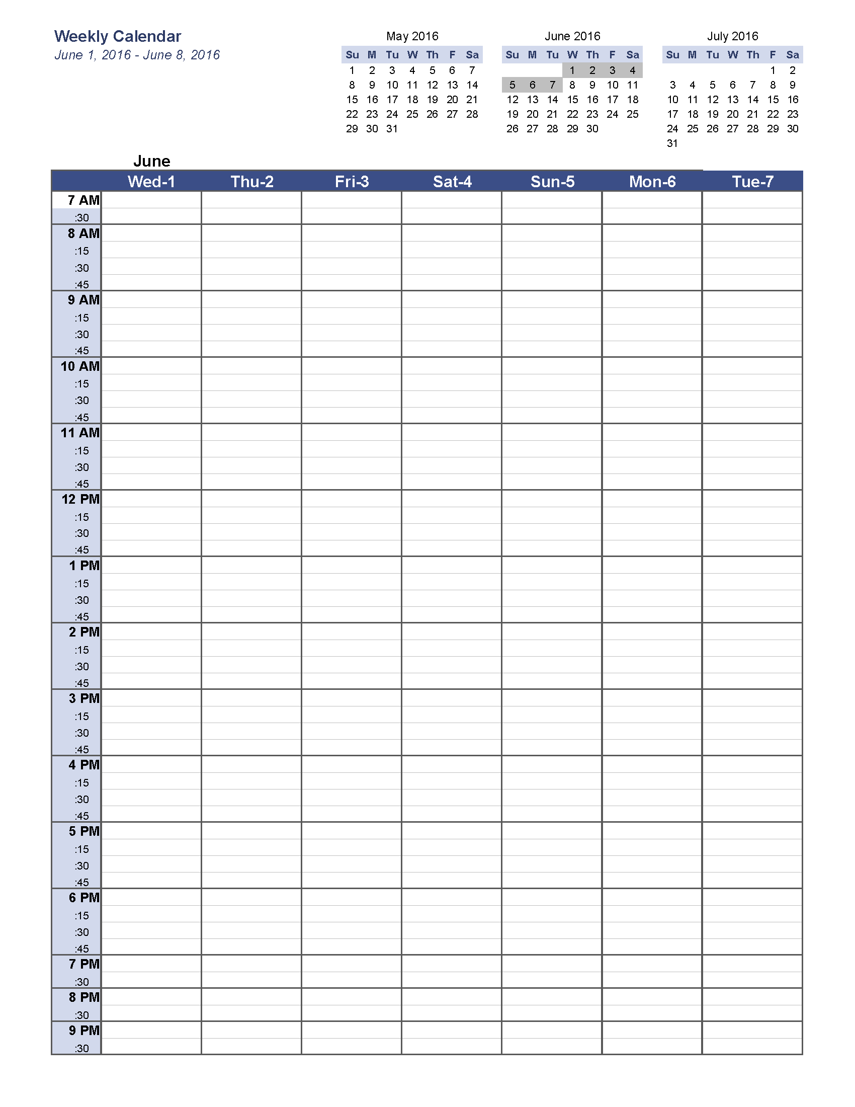 June 2016 weekly calendar blank printable templates for Calnedar template