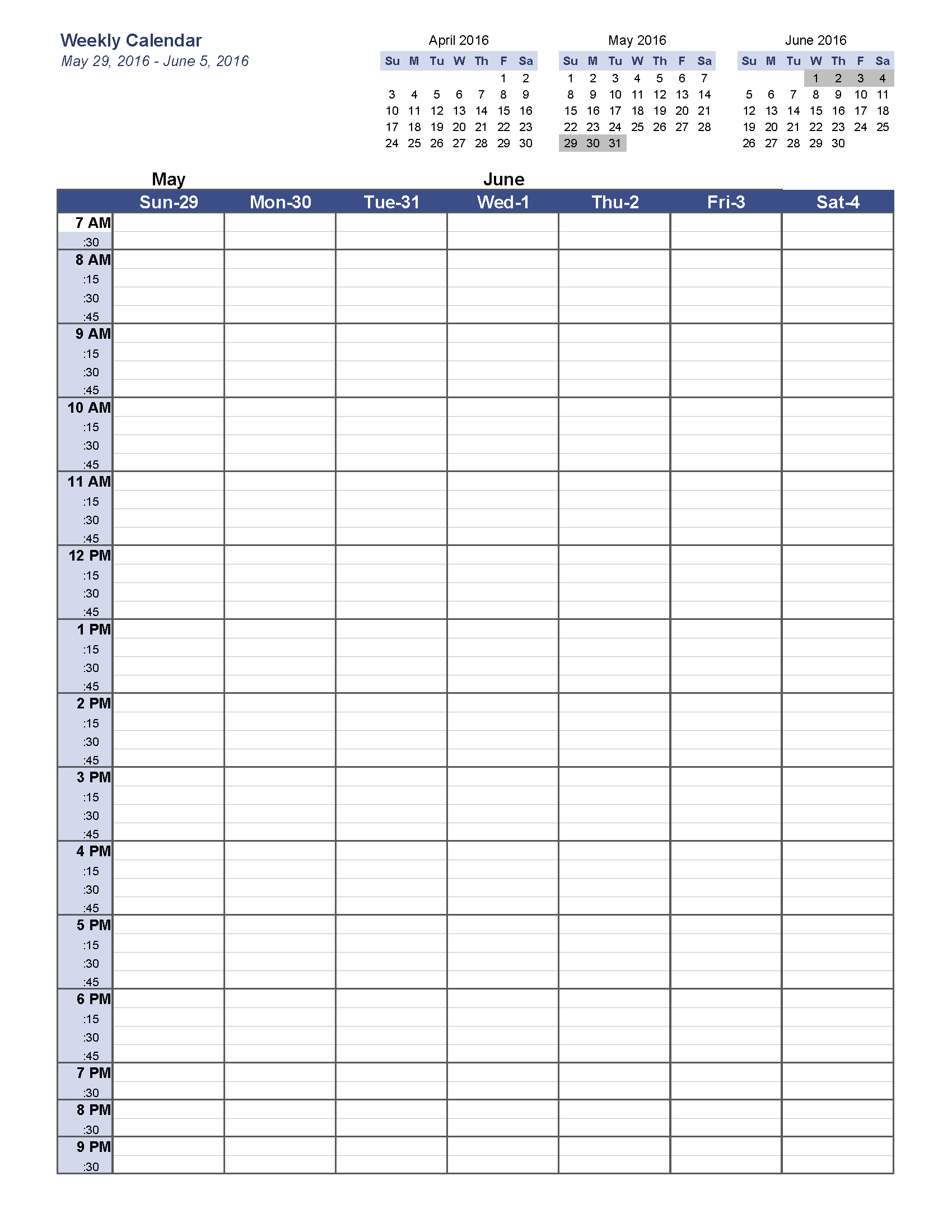Calendar, May 2016 Weekly Blank Templates, May 2016 Weekly Calendar ...