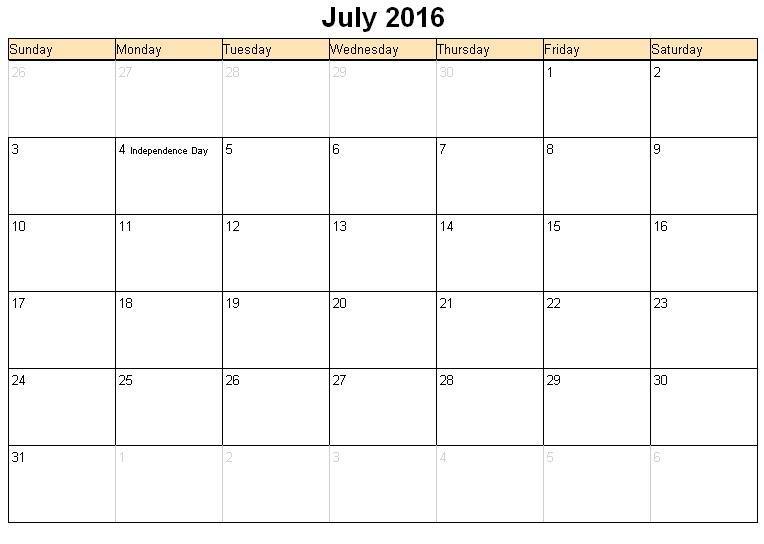 July 2016 Printable Calendar, July 2016 Calendar landscape, July 2016 ...