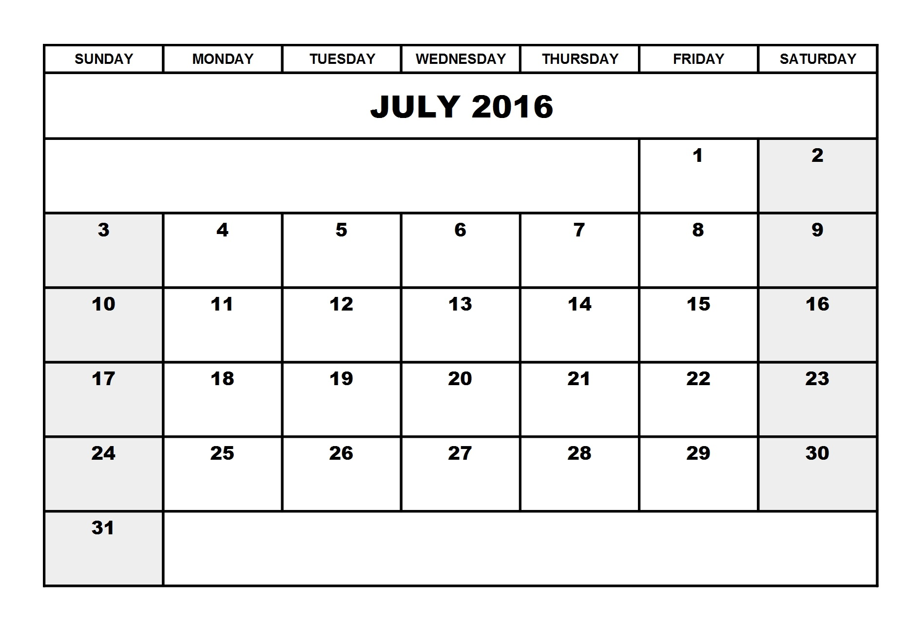 July 2016 Calendar Portrait | Printable Calendar Templates