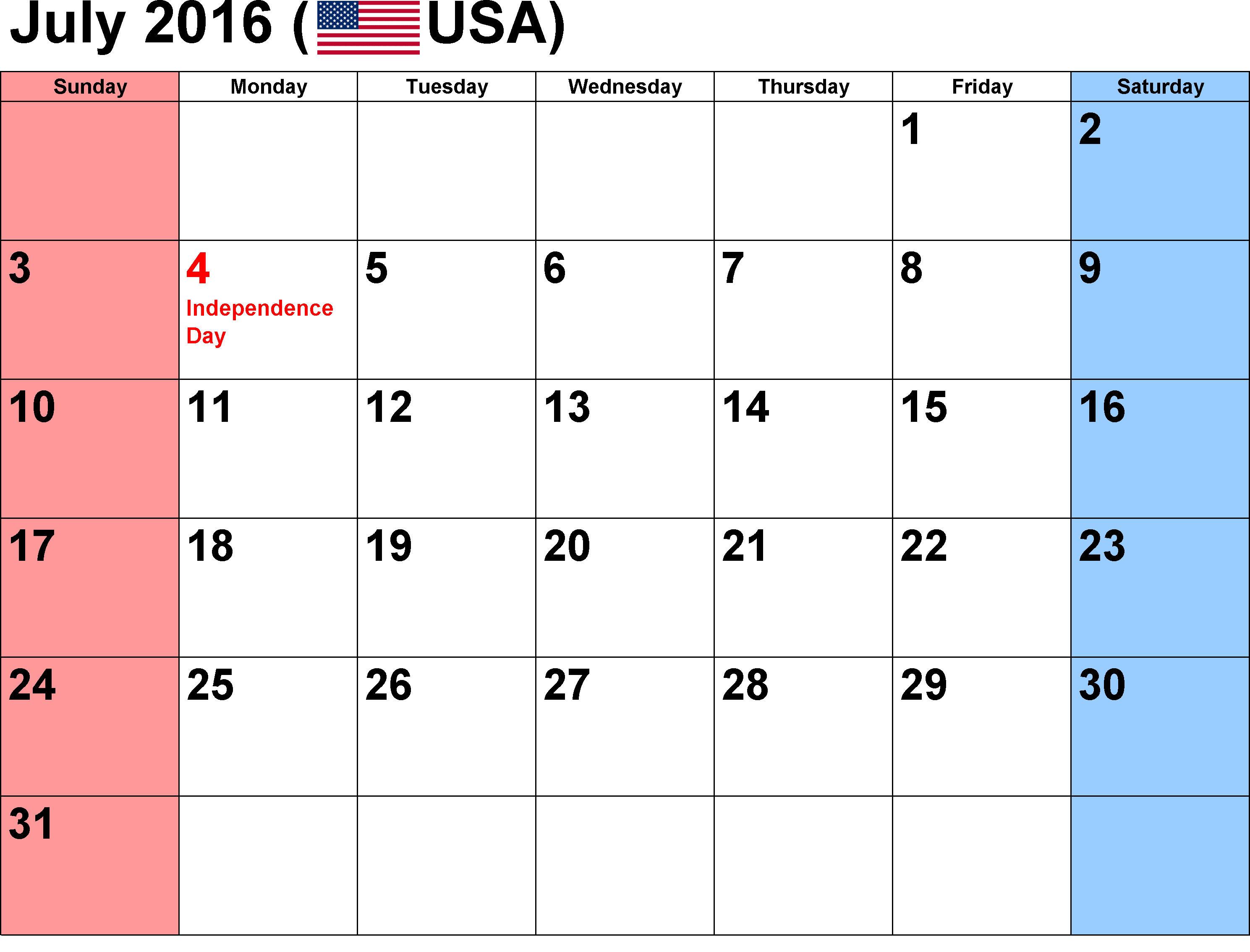 2016 Calendar July 2016 Calendar with Holidays, July 2016 Calendar USA ...