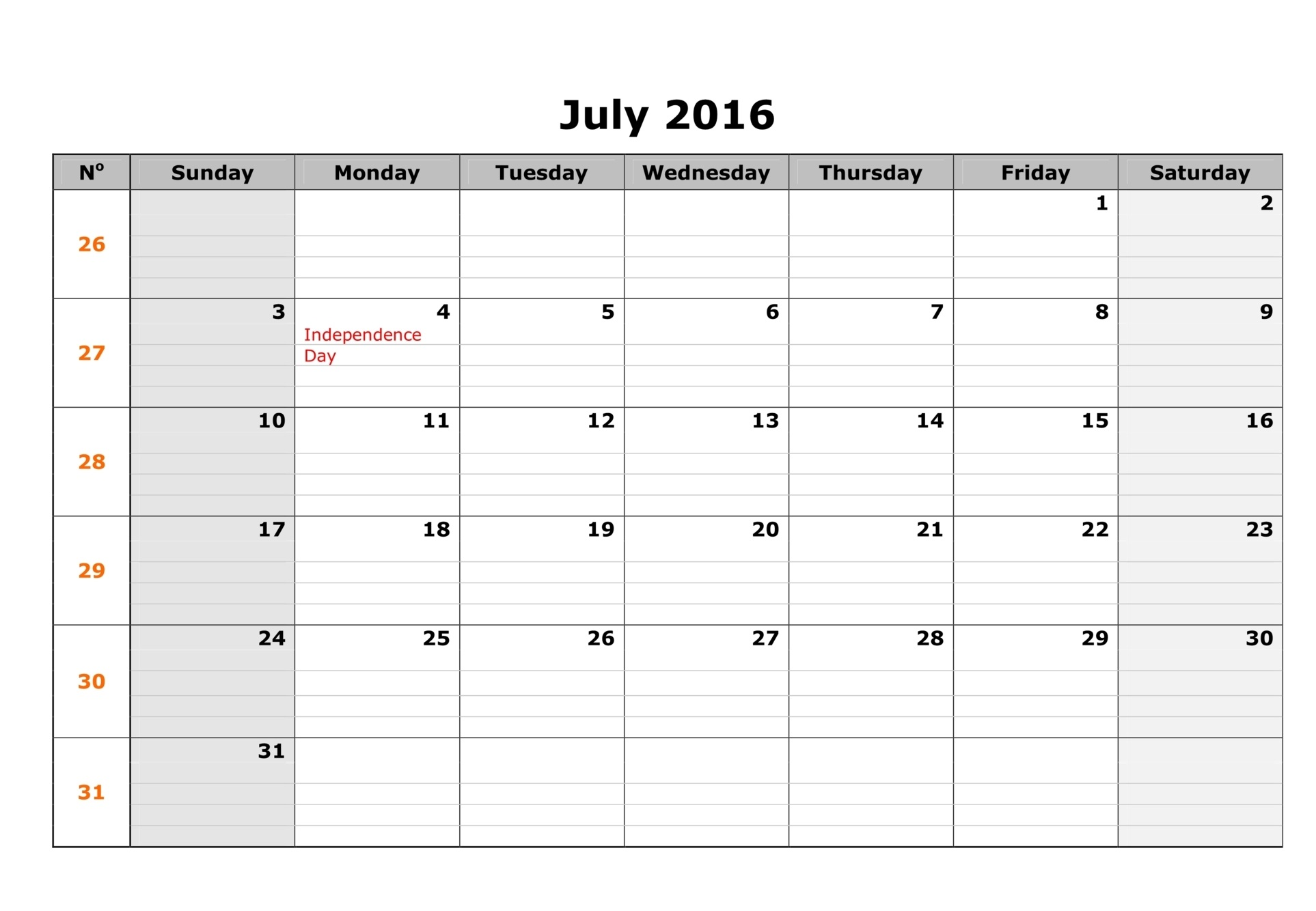 generic calendar template