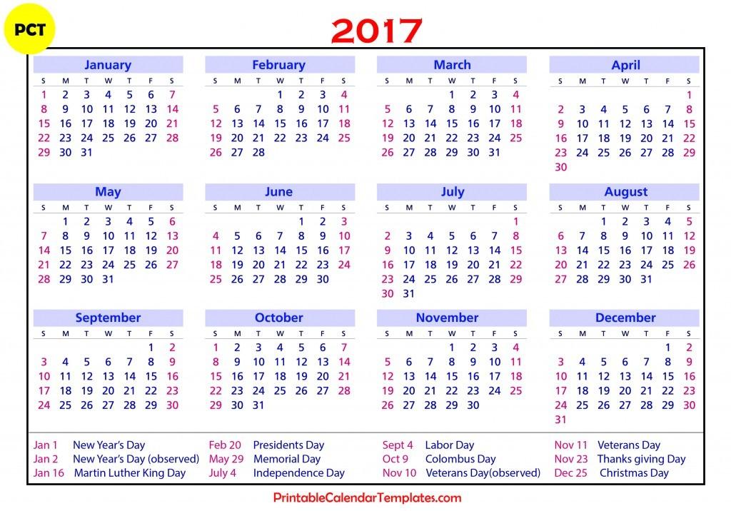 printable calendar for 2017