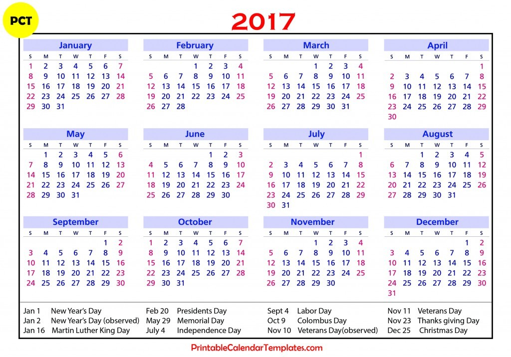 Printable calendar 2017 year