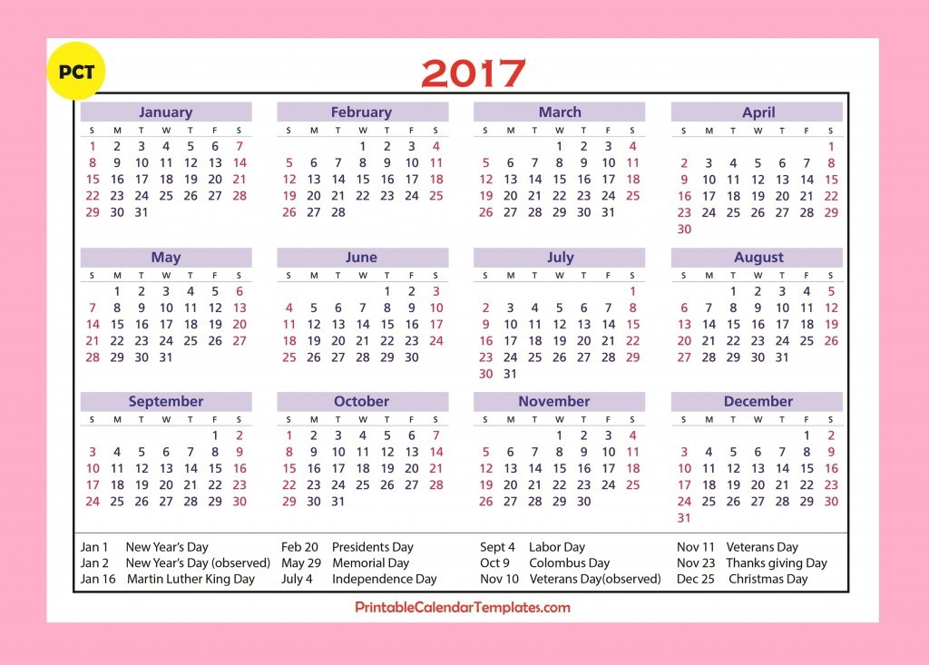 ... 2017 calendar with holidays, 2017 calendar printable one page, 2017