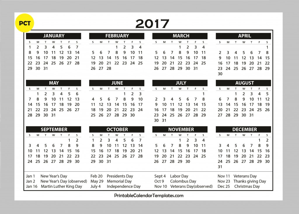 one page, 2017 calendar to print, Calendar 2017, 2017 Calendar, Yearly ...