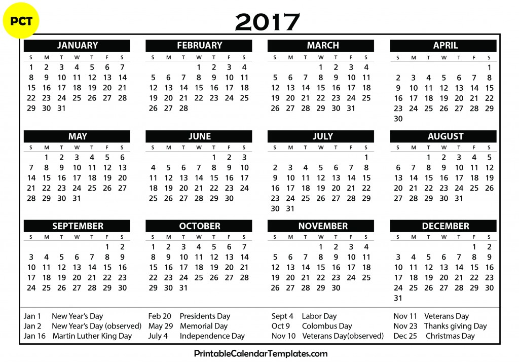 Free printable calendar 2017 printable calendar templates for Yearly vacation calendar template