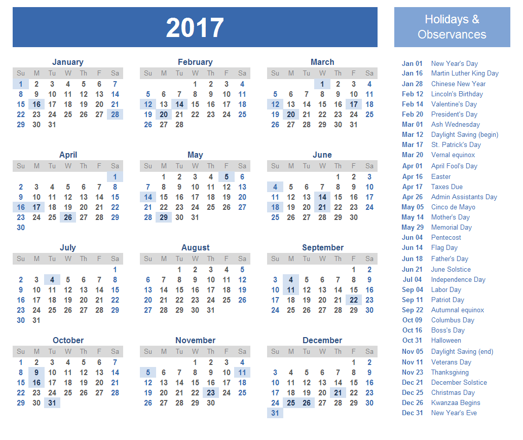Free Printable 2016 Calendar with Holidays View Image