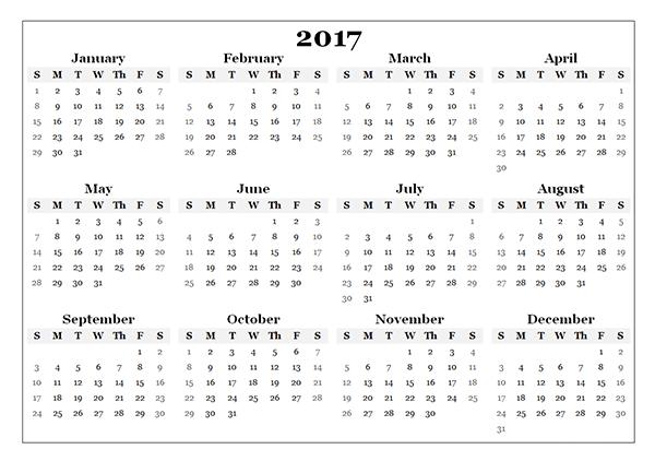 free printable calendar with holidays 2017