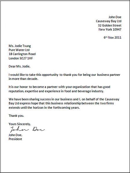 Formal Business Letter Format – Example Business Letter