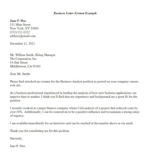 formal business letter format official letter sample template - Writing A Cover Letter Format