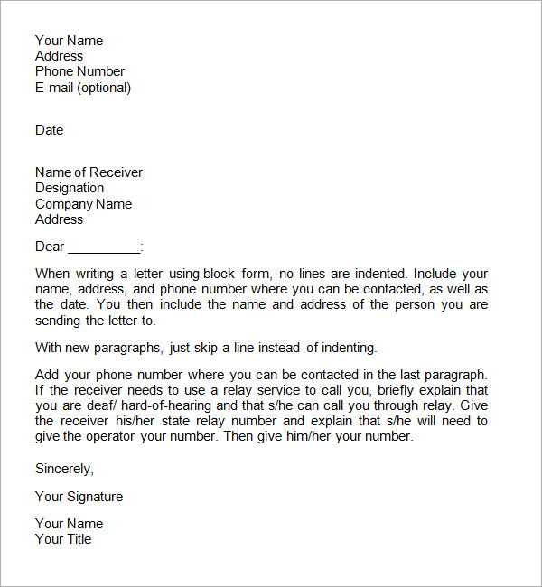 Formal Business Letter Format – Formal Business Letter Format