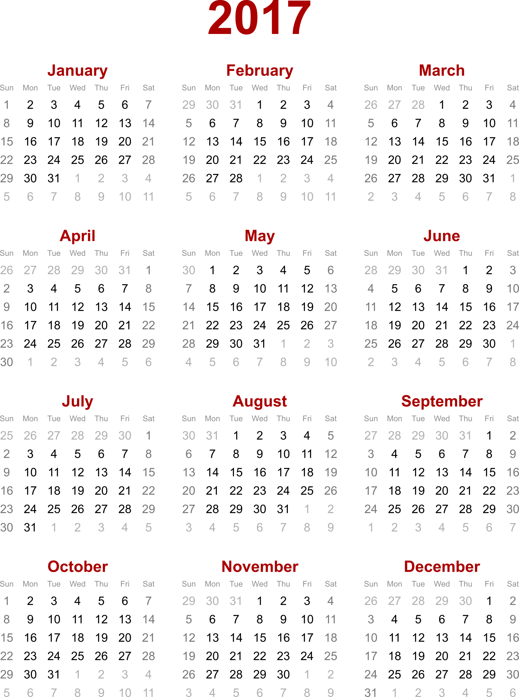 Calendar, Yearly Calendar 2017, Calendar 2017 printable, Free