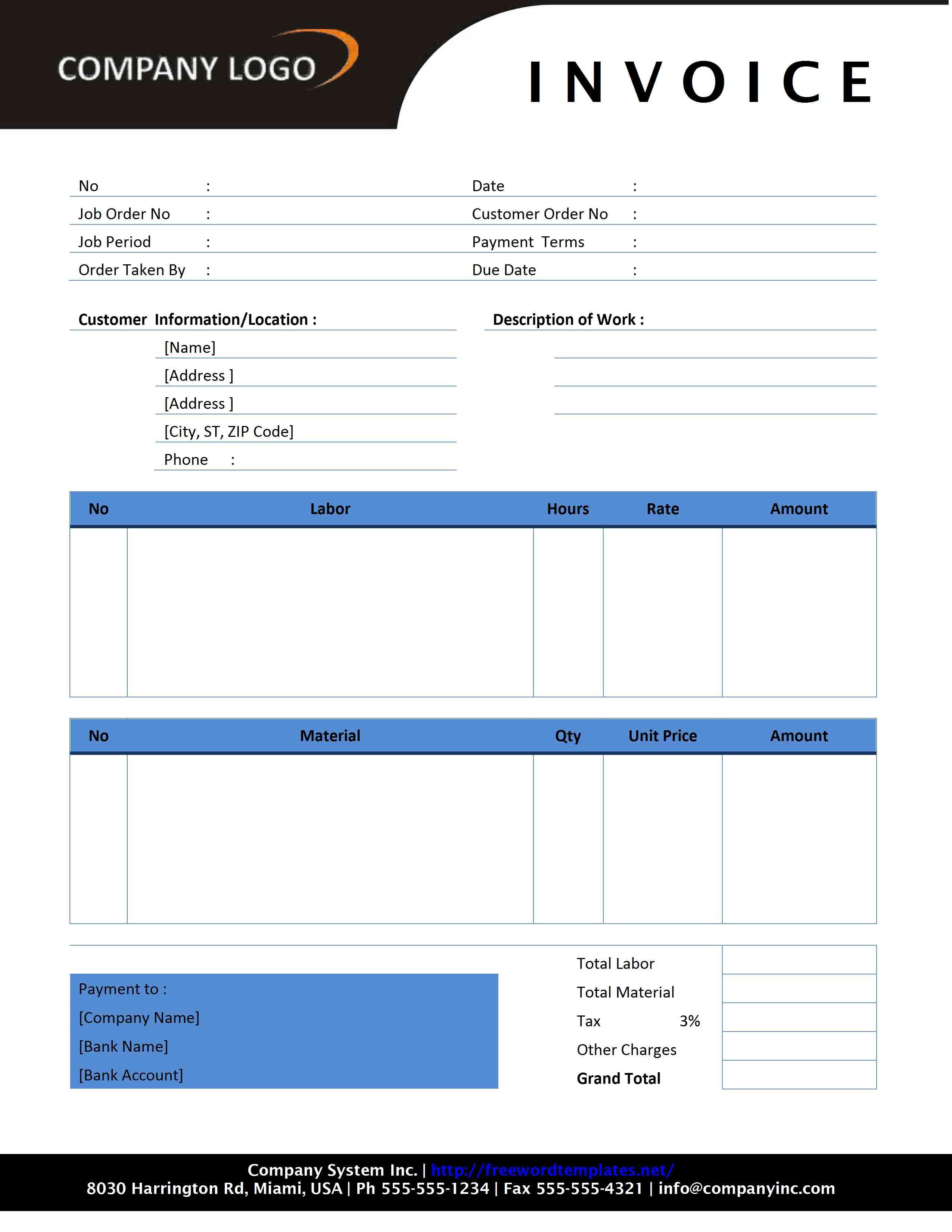 Free Invoice Template | Sample Invoice Format | Printable Calendar Templates