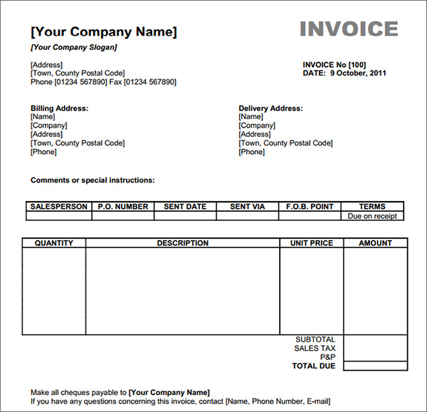Basic Invoice Template Billing Invoice Template Excel Sample