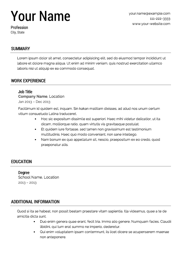 Sample u s resume format