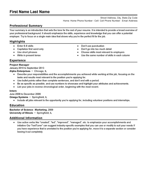 Free resume templates professional cv format printable for Free job resume template