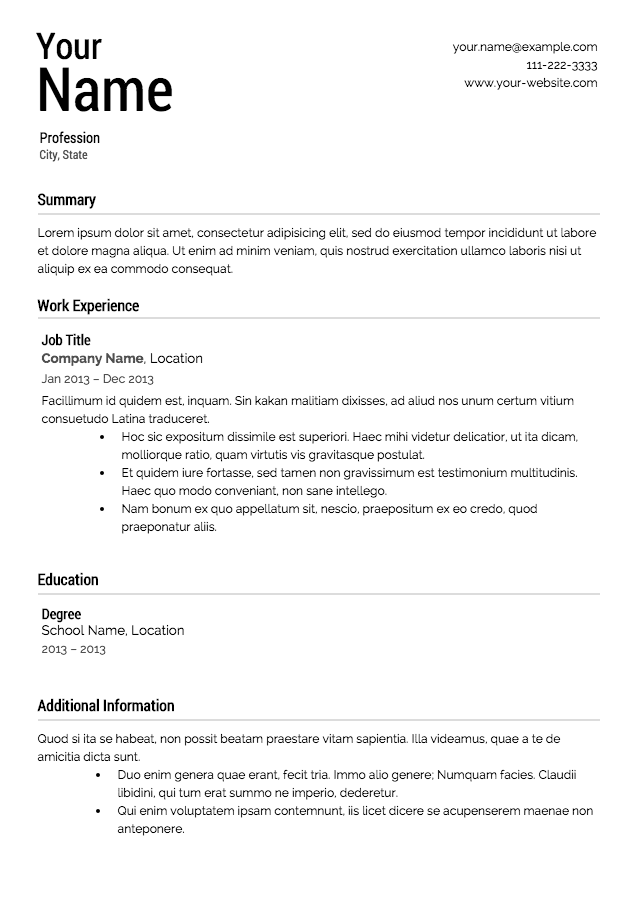 Written resume templates