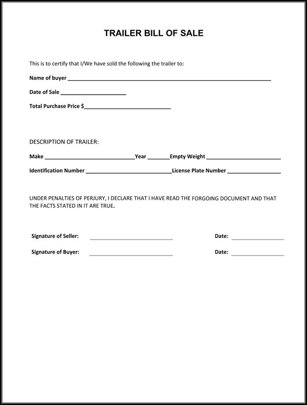 Bill of sale Form Template – Bill of Sale Word Document