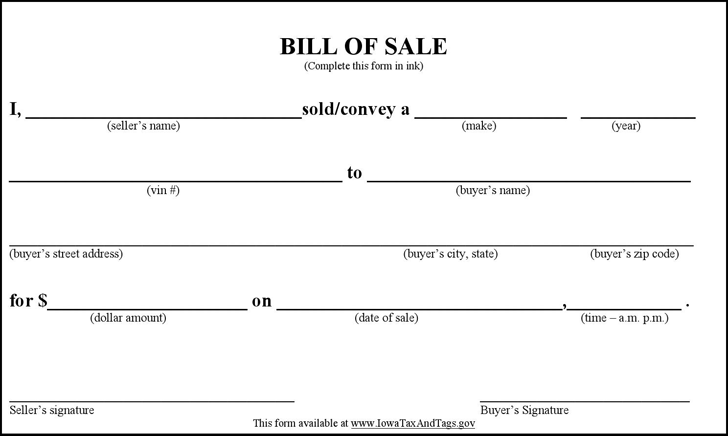 Bill of sale Form Template – Bill of Sales Forms
