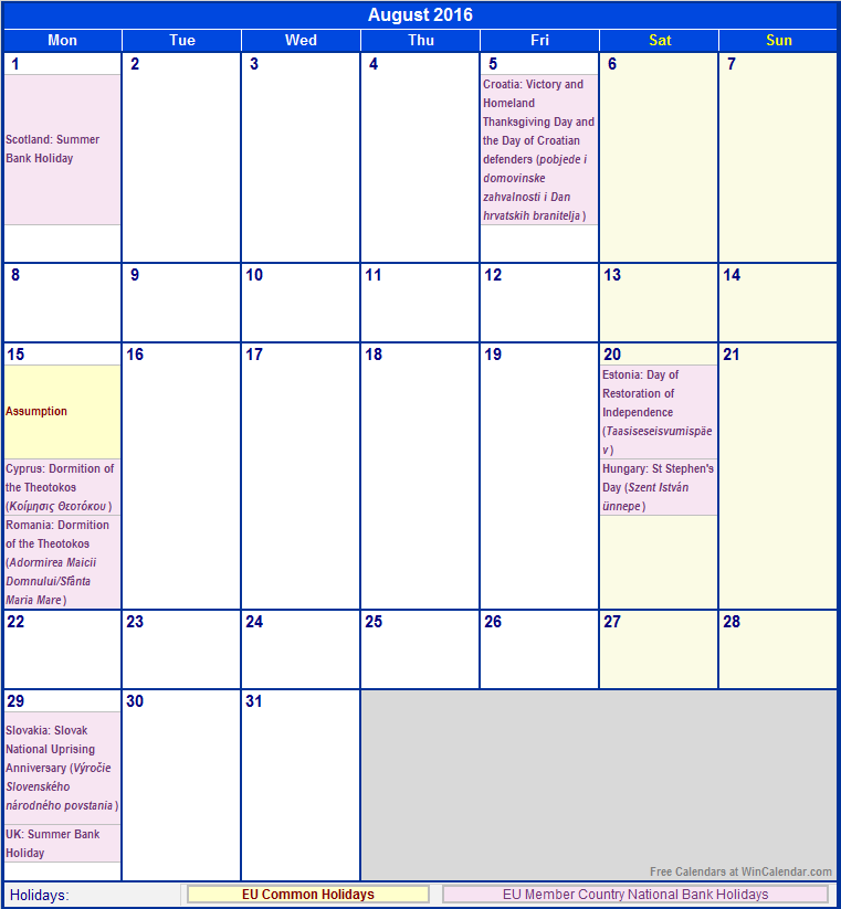 august holidays, august holiday calendar 2016