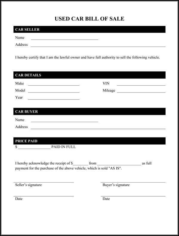 Delicate image pertaining to bill of sale form printable