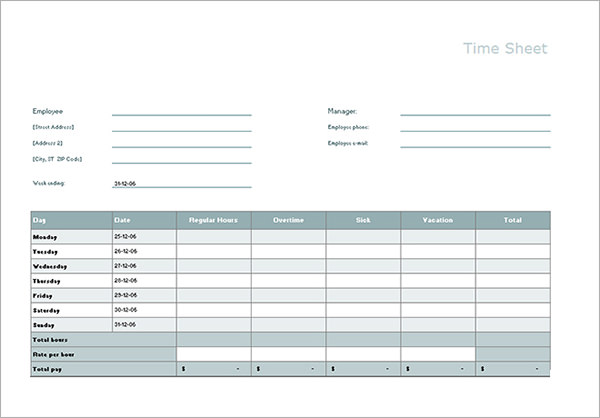Free Timesheet Calculator Template | Printable Calendar Templates