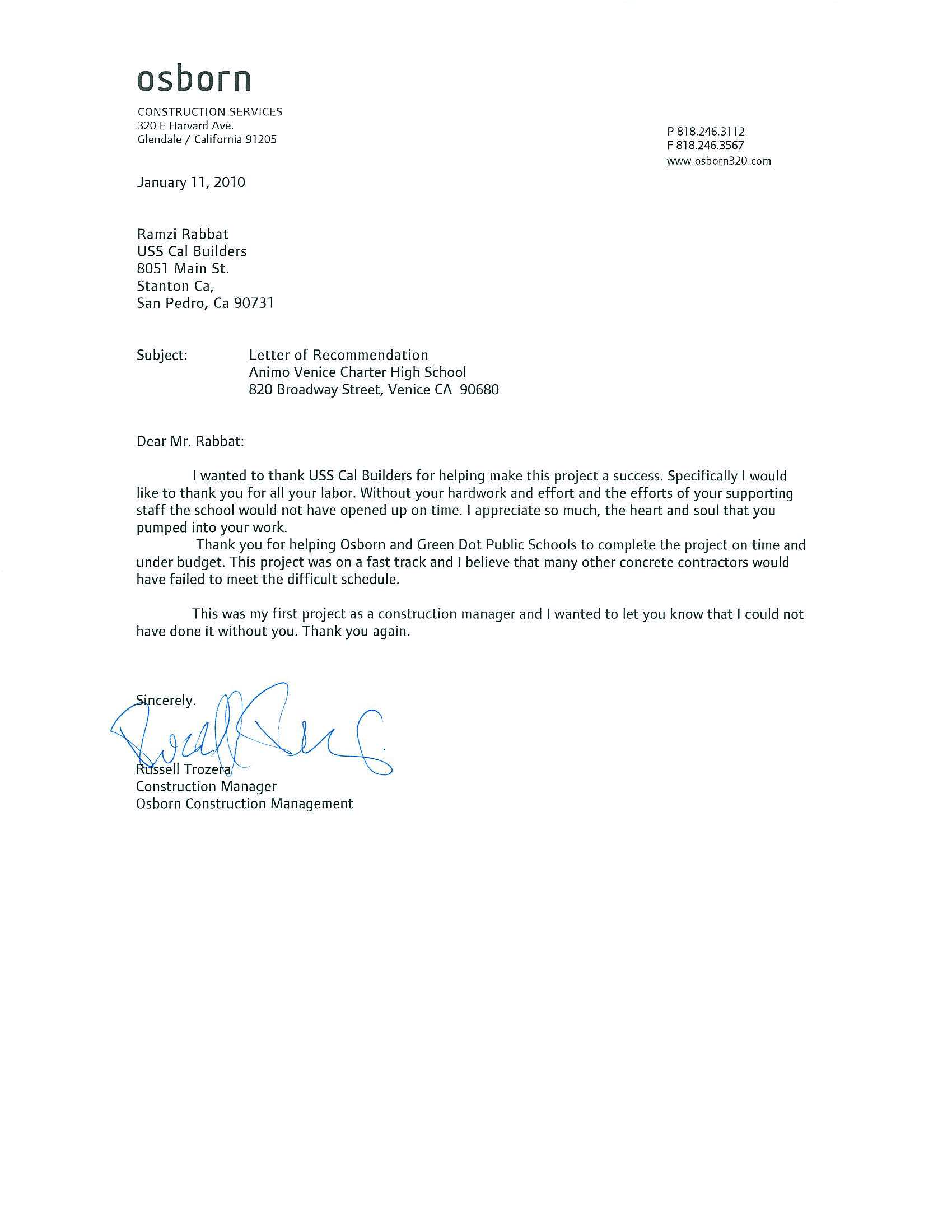 Free Recommendation Letter Download – Job Reference Letter Template
