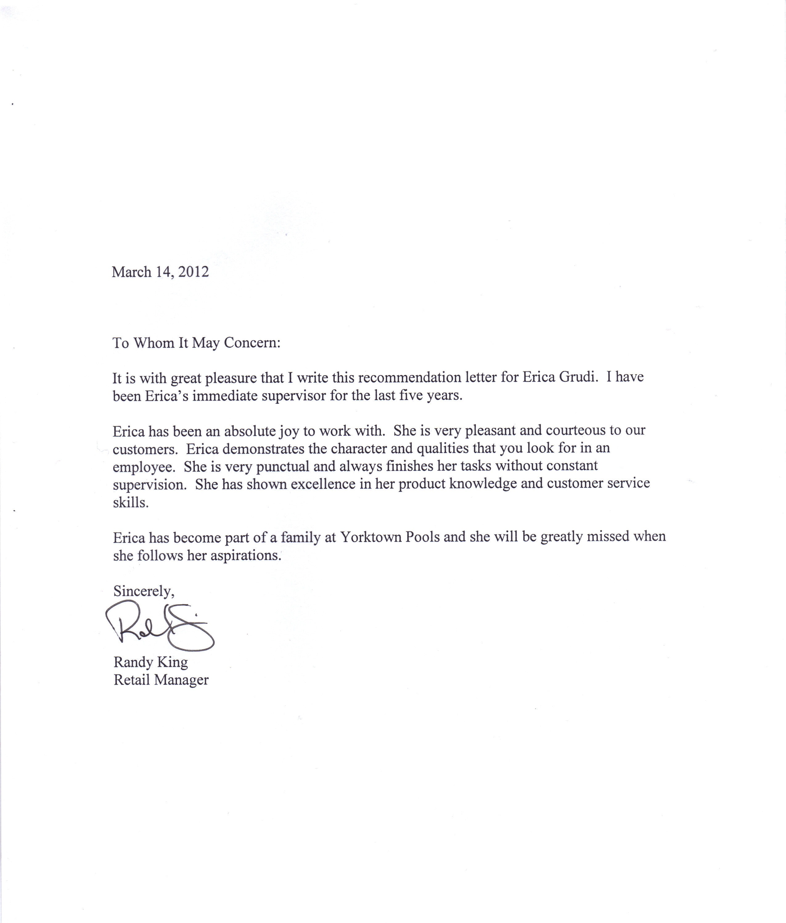 Free Recommendation Letter Download – Free Sample Letter of Recommendation