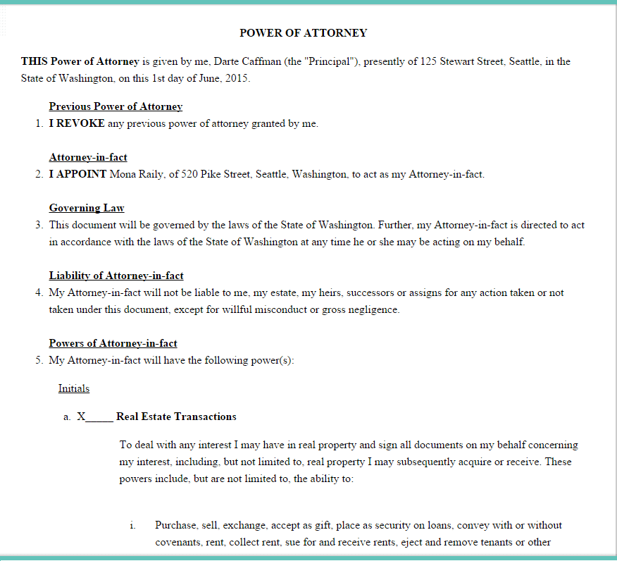 Power of Attorney Form Template Download – Sample Durable Power of Attorney Form