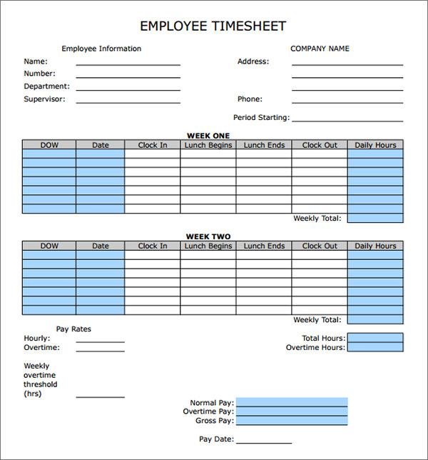 Free Timesheet Calculator Template – Free Timesheet Form