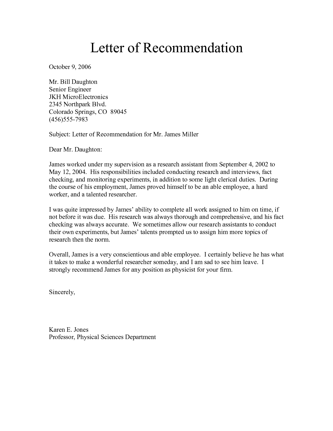 recommendation letter sample for employee