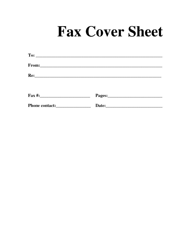 Template And Blank Fax Cover Sheet Free