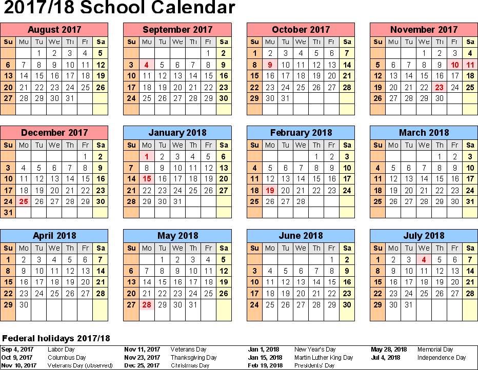 2017 school calendar, School Calendar 2017-2018, School Schedule, School year calendars