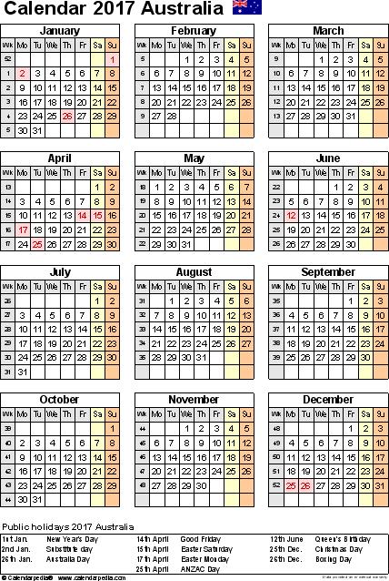 customizable calendar template 2017