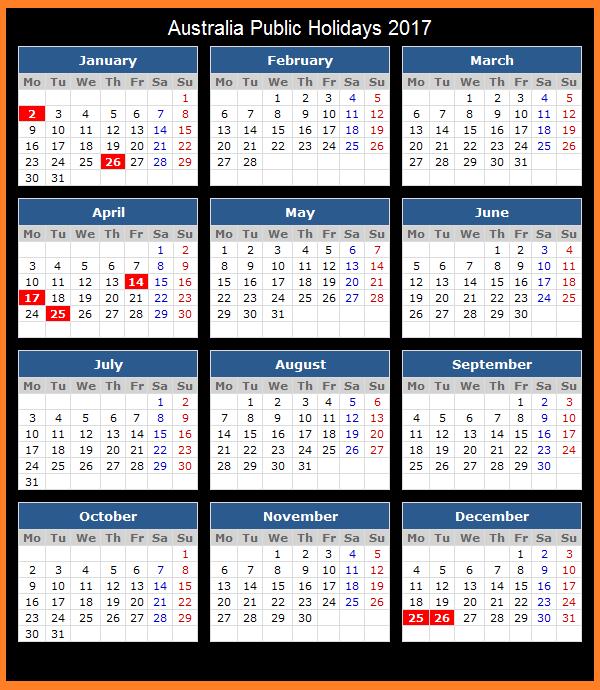 Australian Calendar, Australian National Holidays, Australian Holiday List, 2017 Calendar Australian Holidays
