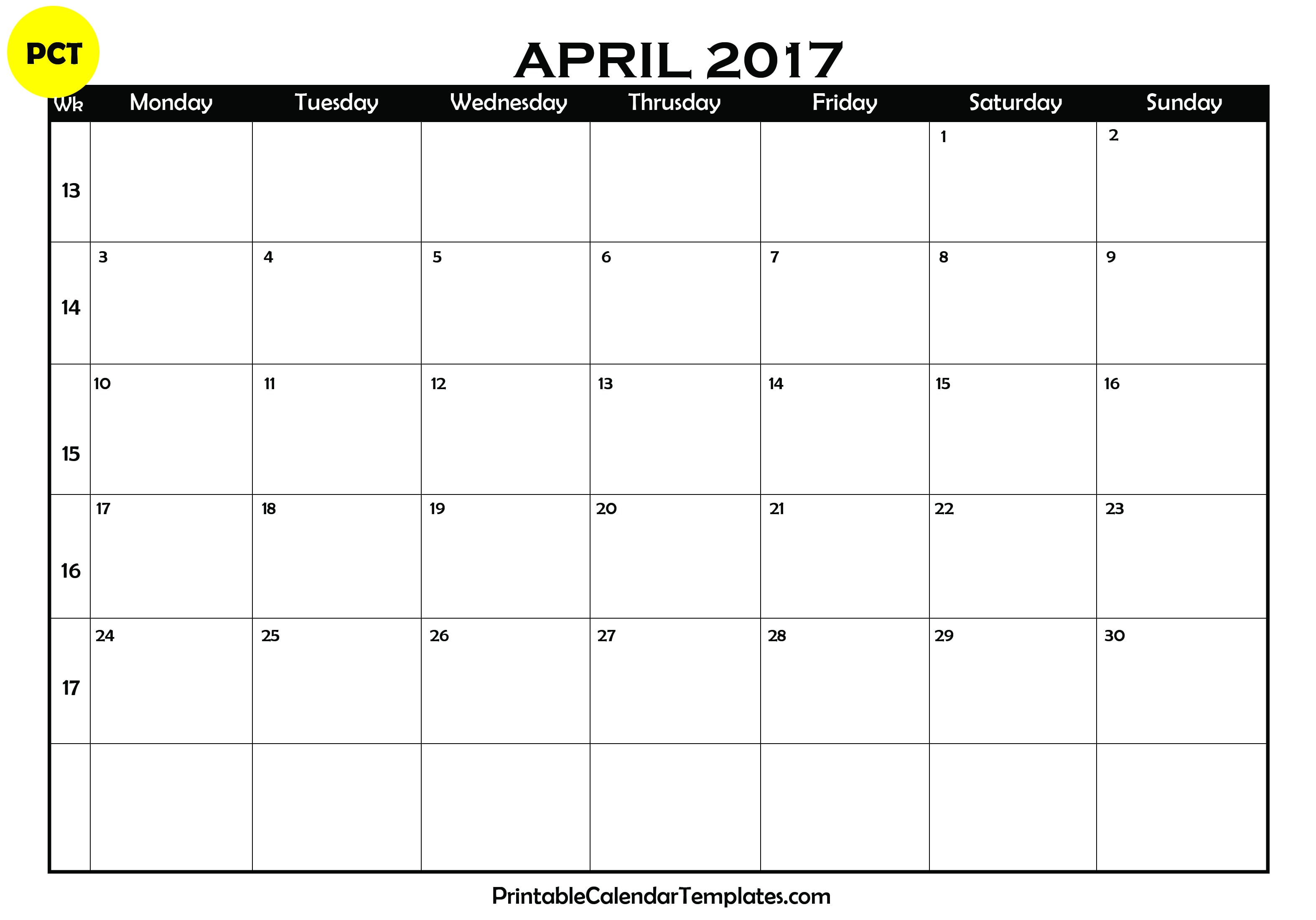 April 2017 calendar printable | Printable Calendar Templates