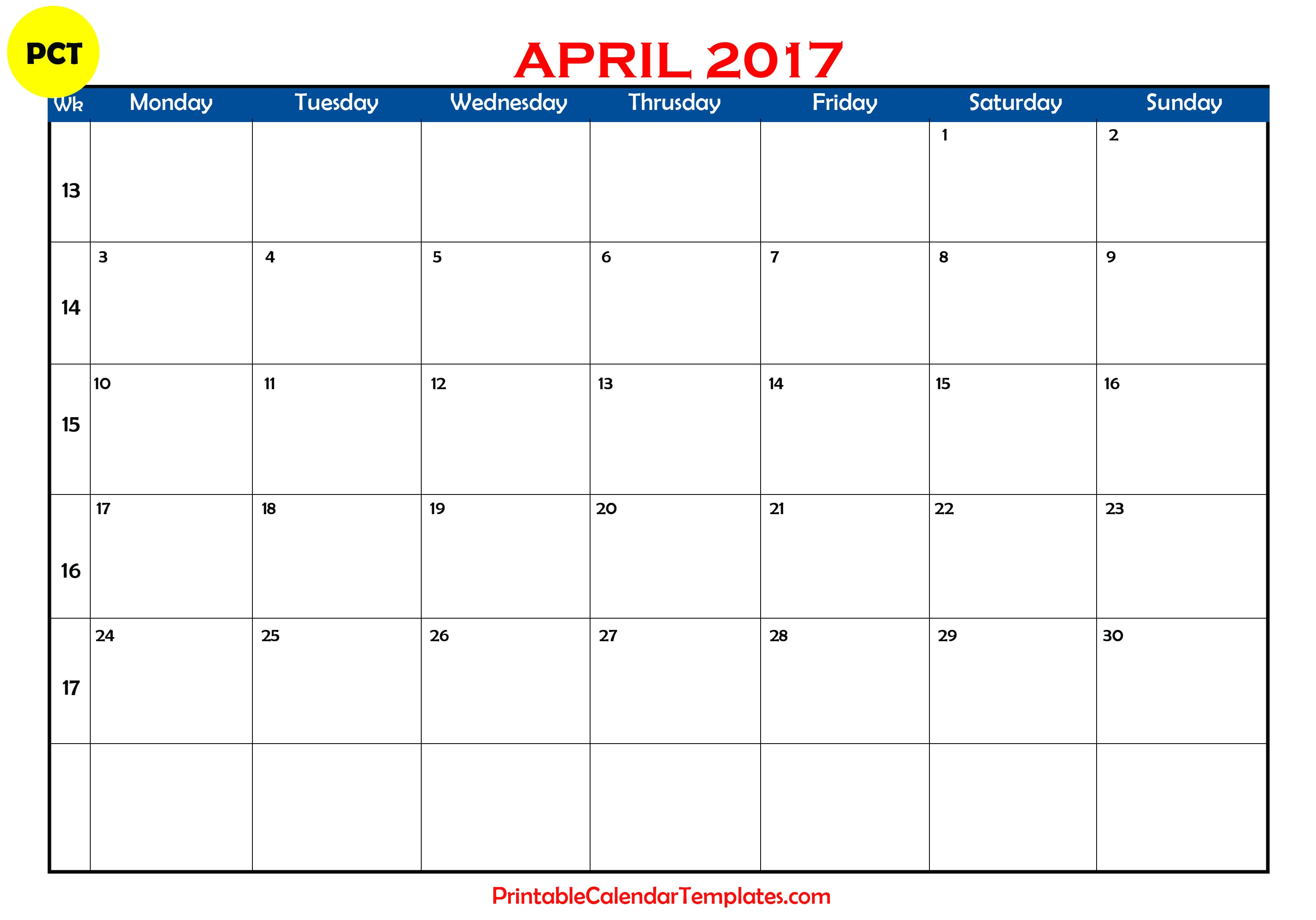 Blank Calendar Template April : Free printable calendar templates