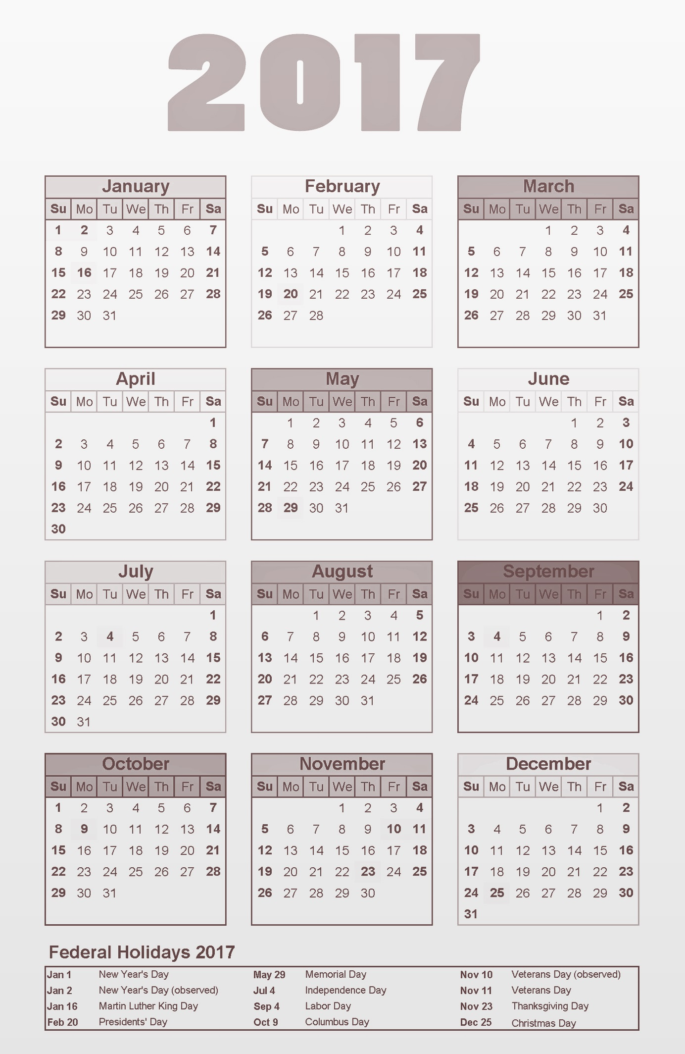 2017 us calendar