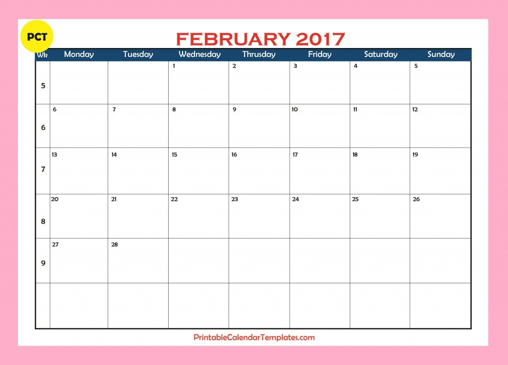 calendar 2017 monthly template