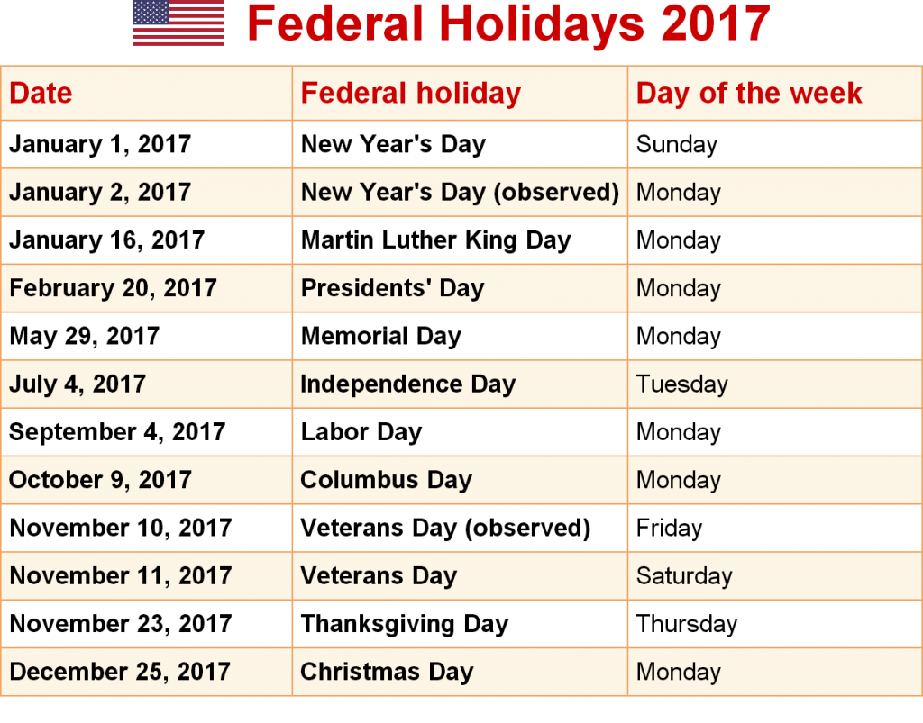 Holidays to America, 2017 Calendar with Federal Holidays, 2017 USA calendar, President Day Federal Holidays,