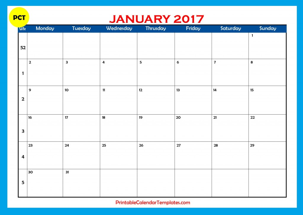 january 2017 printable calendar templates printable calendar templates. Black Bedroom Furniture Sets. Home Design Ideas