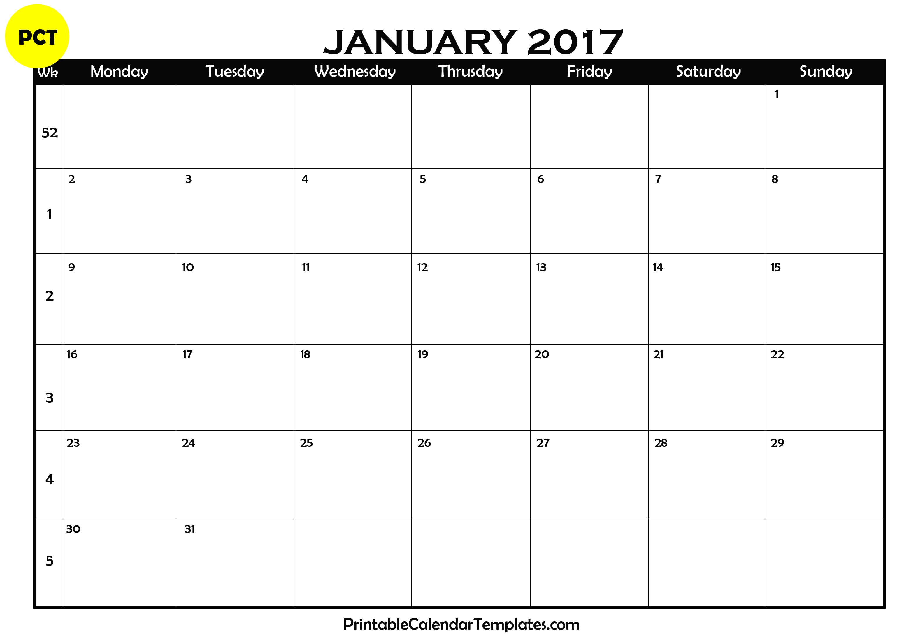 january 2017 calendar, free january printable calendar, january 2017 calendar template