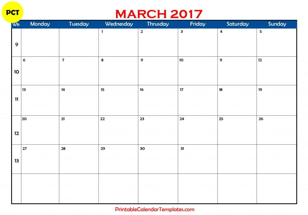 March 2017 calendar templates