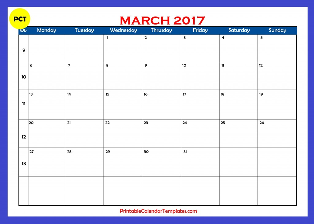 Printable calendar for March 2017