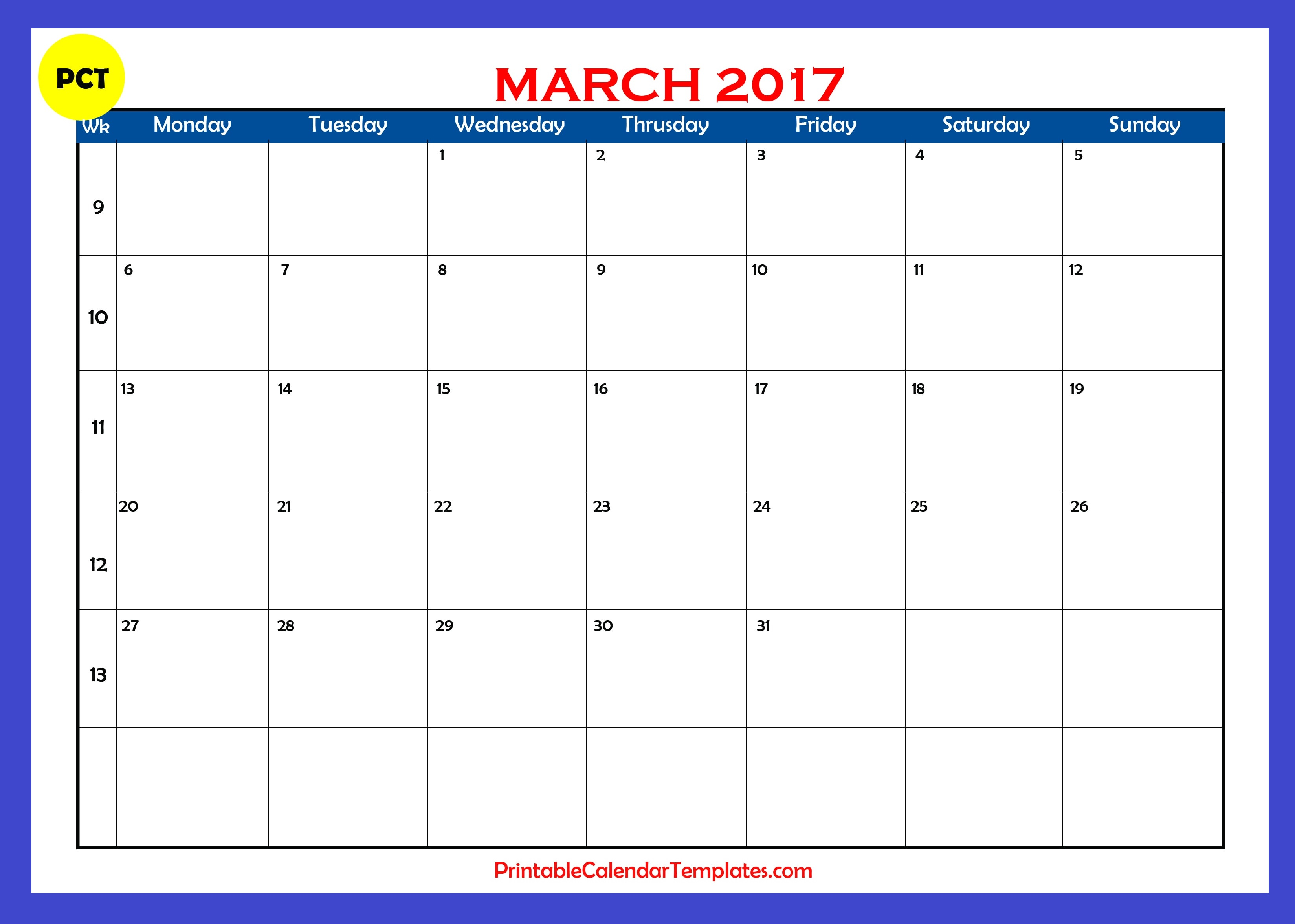 March 2017 Calendar Printable Printable Calendar Templates
