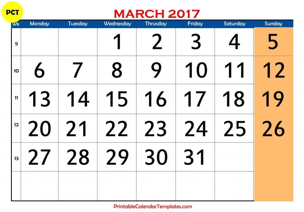 calendar, march 2017 monthly calendar, march 2017 printable calendar ...