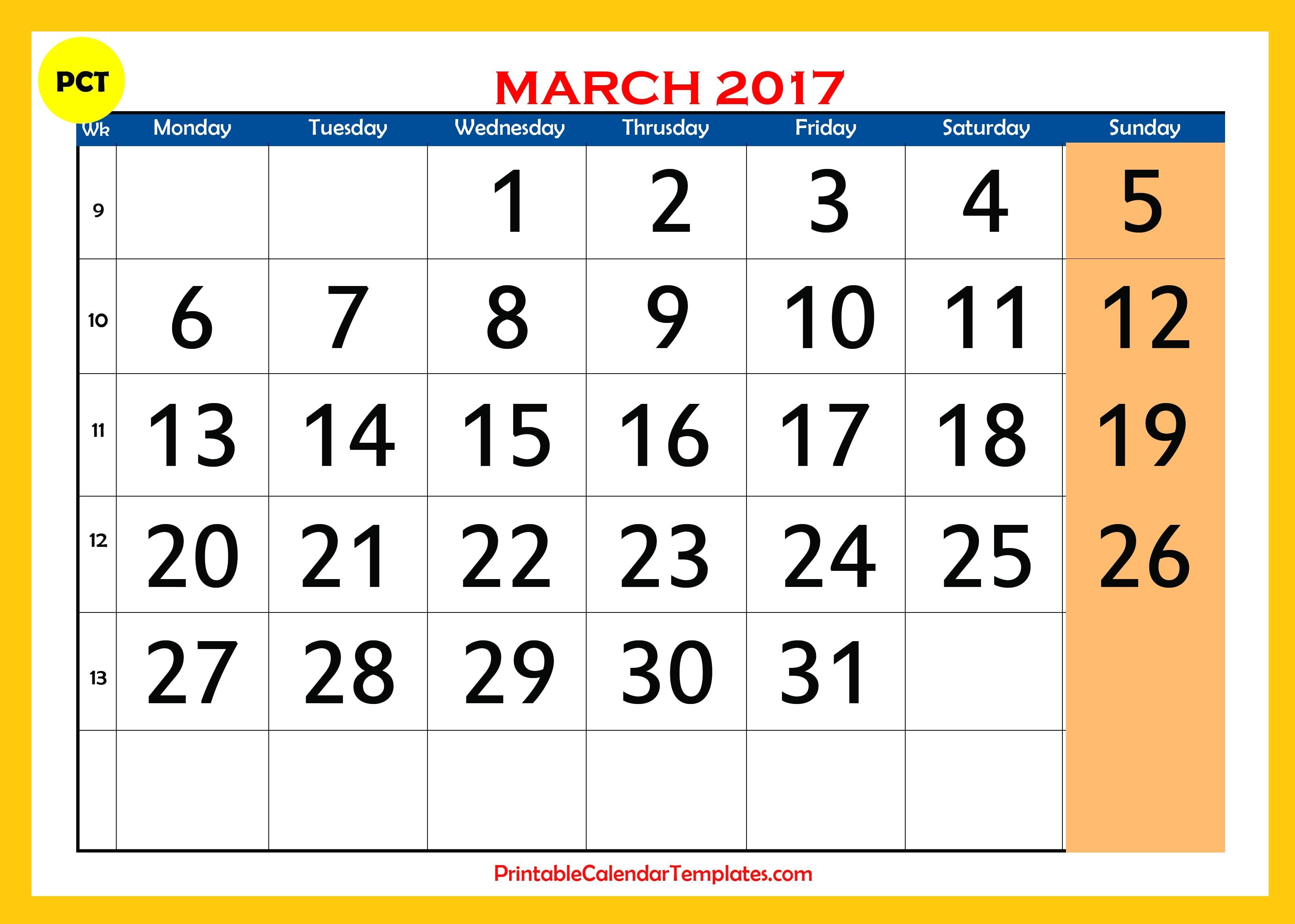 monthly printable calendar free