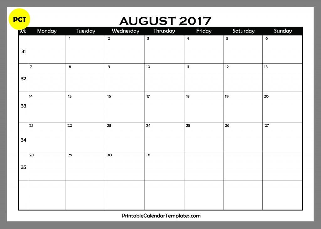 Blank calendar for August 2017