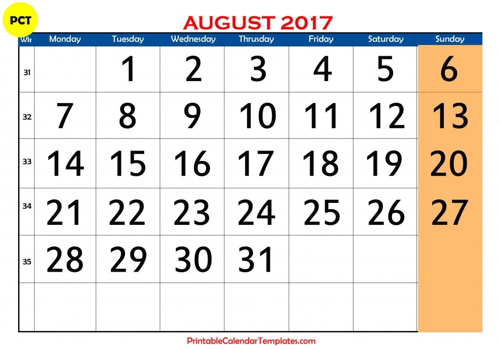 Free August 2017 Printable calendar